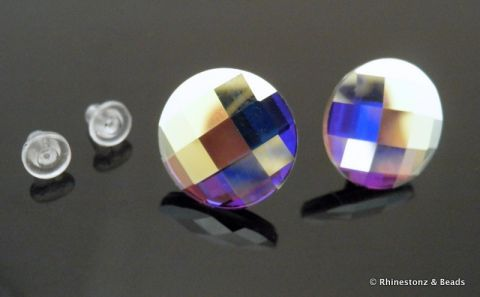 Chessboard Cut Earrings with Swarovski - Crystal AB 14mm