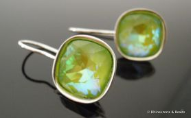 Square Cut Cushion Earrings with Swarovski  - Green AB