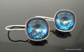 Square Cut Cushion Earrings with Swarovski - Blue AB