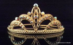 """Olivia"" Tiara - Gold/Crystal AB 45mm high"