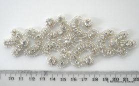 Crystal Applique Crystal/Silver 13cm x 5cm