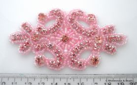 Crystal Applique Light Rose/Silver 9.7cm x 5.3cm