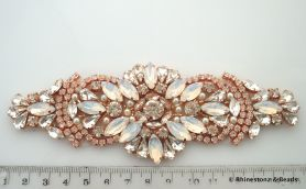 Crystal Applique Rose Gold, White Opal & Crystal 15cm x 5.5cm