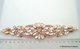 Crystal Applique Rose Gold, White Opal & Crystal 20cm x 4cm