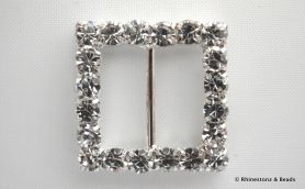 Diamante Buckle Crystal/Silver Square 20mm