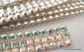Preciosa Trim 3 row Crystal AB in Silver METAL